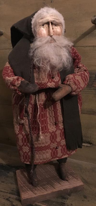 #CF Santa wwlk stk cov CF Santa w/ walking stick coverlet